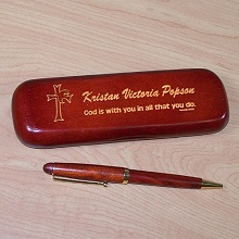Confirmation Personalized Rosewood Pen and Case Set