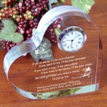 Friendship Engraved Keepsake Heart Clocks
