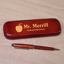 Teacher Personalized Rosewood Pen and Case Set