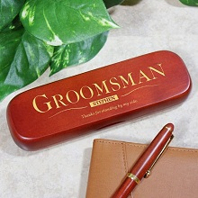 Groomsman Personalized Rosewood Pen and Case Set