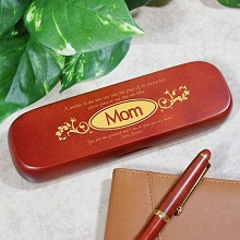 Mom Personalized Rosewood Pen and Case Set