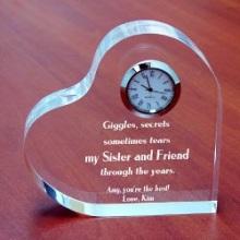 Through the Years Engraved Sisters Keepsake Heart Clocks