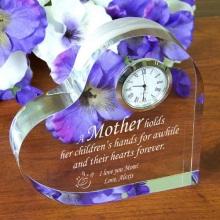 Engraved Mother Keepsake Heart Clocks