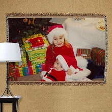 Personalized Christmas Photo Tapestry Throw Blankets