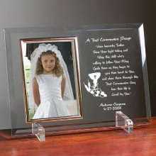 First Communion Engraved Beveled Glass Picture Frames