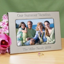 Engraved Silver Vacation Photo Picture Frames