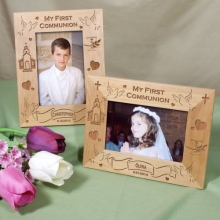 My First Communion Engraved Wood Picture Frames