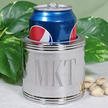 Engraved 5-Line Silver-Plated Can Cooler Koozies