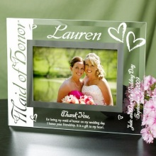 Maid of Honor Engraved Glass Picture Frame