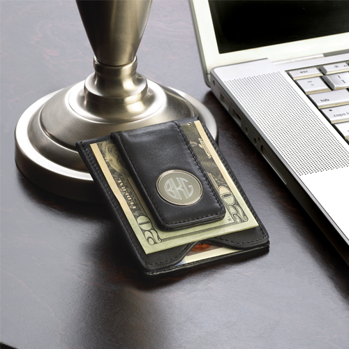 Personalized Black Leather Wallet Moneyclip