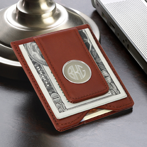 Personalized Brown Leather Wallet Moneyclip