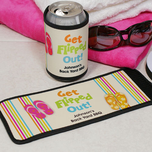 Personalized Get Flipped Out Can Wrap Koozies