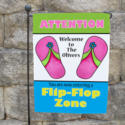 Personalized Flip Flop Zone Garden Flags