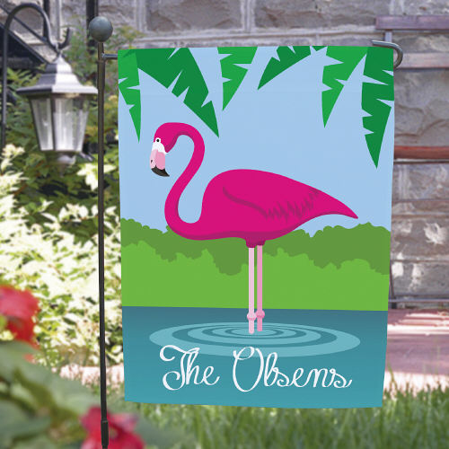 Personalized Pink Flamingo Garden Flags