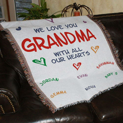 Personalized All Our Hearts Grandma Tapestry Throw Blankets