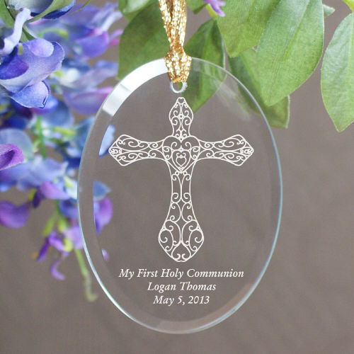 First Holy Communion Engraved Oval Glass Ornaments