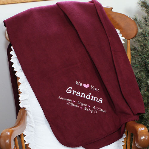 Embroidered We Love You Grandma Throw Blankets