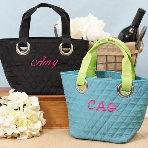 Embroidered Bridesmaids Mini Quilted Tote Bags