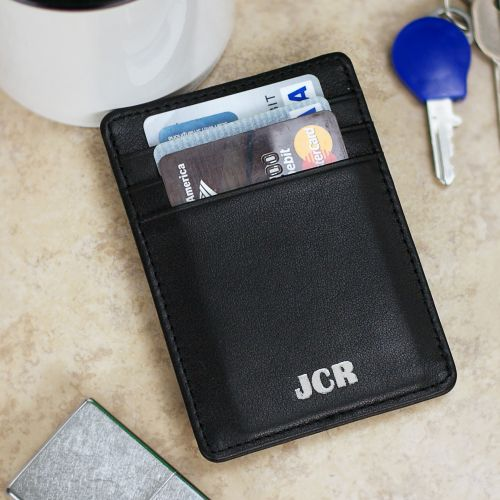 Personalized Nappa Black Leather Moneyclip Wallet