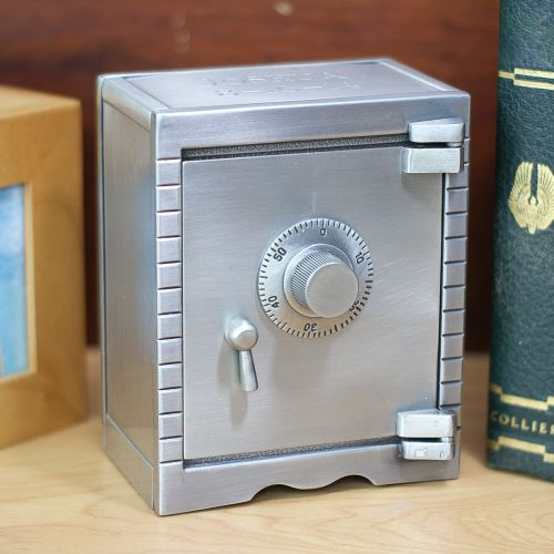 Engraved Pewter Bank Vault Coin Banks