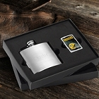Personalized Brushed Flask and NFL Zippo Lighter Gift Sets