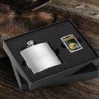 Engraved Brushed Flask and NFL Zippo Lighter Gift Sets