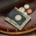 Black Leather Personalized Magnetic Moneyclips