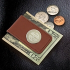 Brown Leather Personalized Magnetic Moneyclips