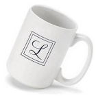 Elegant Script Initial Monogrammed Coffee Mugs