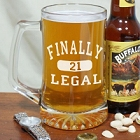 Finally Legal Engraved 21st Birthday Glass Beer Mug