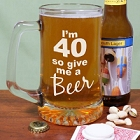 Give Me A Beer Personalized Numbered Birthday Glass Beer Mugs