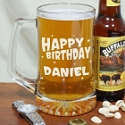 Personalized Happy Birthday Glass Beer Mug