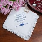 Something Blue Personalized Bride Wedding Handkerchief