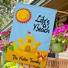 Personalized Life's A Beach House Flags