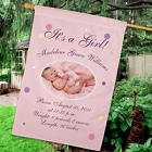 Personalized Newborn Baby Girl Birth Announcement House Flag