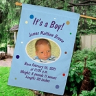 Personalized Newborn Baby Boy Birth Announcement House Flag