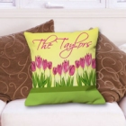 Personalized Tulips Throw Pillow