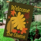Personalized Welcome Fall House Flags