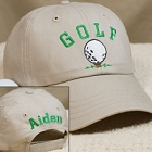 Embroidered Khaki Golf Hat