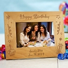 Laser Engraved Happy Birthday Wood Picture Frame