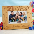 21st Birthday Personalized Wood Picture Frame