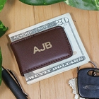 Personalized Brown Leather Folding Moneyclips