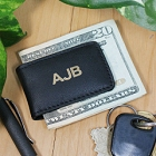 Personalized Black Leather Folding Moneyclips