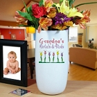 Personalized Grandma's Petals and Buds Ceramic Vase