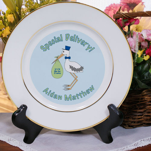 Special Delivery Baby Boy Announcement Ceramic Plates