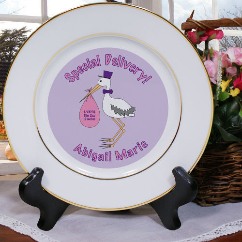 Special Delivery Baby Girl Announcement Ceramic Plates