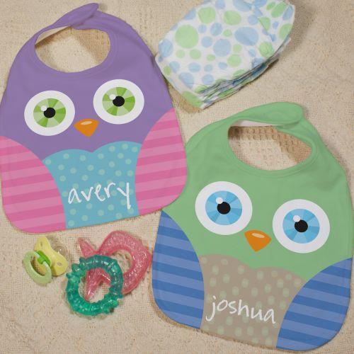 Custom Printed Owl Baby Bibs