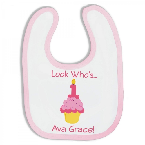 Personalized Terry Cloth Baby Girl Birthday Cupcake Bibs