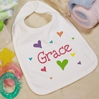 New Baby She's All Heart Personalized Baby Bibs