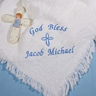 Embroidered God Bless Baby Boy Afghan